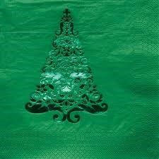 Glitz Beverage Napkins - Green x 16
