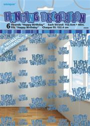 Glitz Happy Birthday Hanging Decorations - BLUE