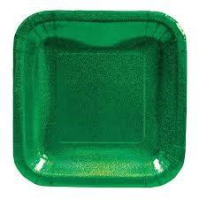 """Glitz Plates Green - 7"""" Square"""