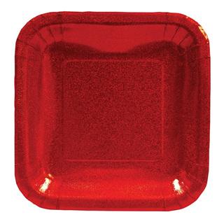 """Glitz Plates Red - 7"""" Square"""