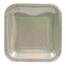 """Glitz Plates Silver - 7"""" Square"""