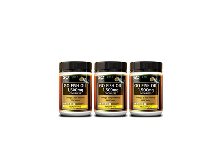 GO Fish Oil 1500mg Odourless Omega 3 High Potency Soft Gel Capsules (175's)