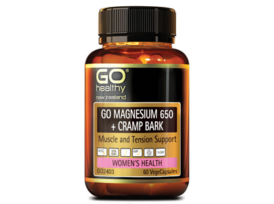 Go Magnesium 650 + Cramp Bark Muscle and Tension Support ( 60 VCaps)