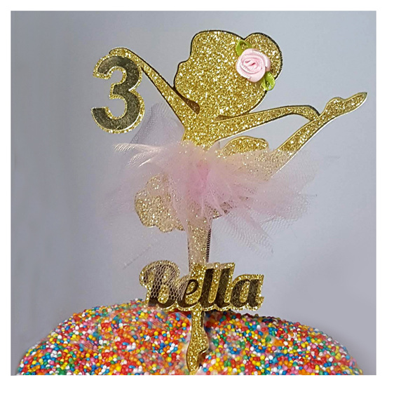 gold ballerina cake topper birthday cake child girl personalised custom