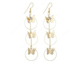 Gold Butterfly Dangling Long Earrings