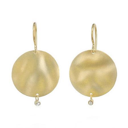 Gold Circle and Diamond Drop Earrings
