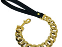 Gold Cuban Link Dog Leash, Luxury Lead for Large Dogs by Big Dog Chains