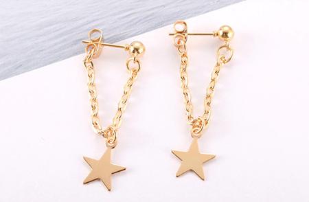 Gold Drop Star Earrings