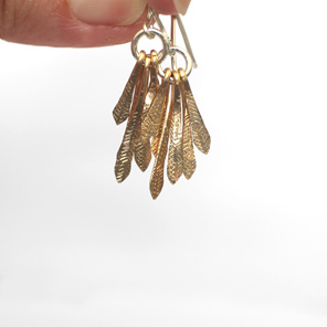 gold feather leaf sterling silver dangle summer hammered earrings sun rays
