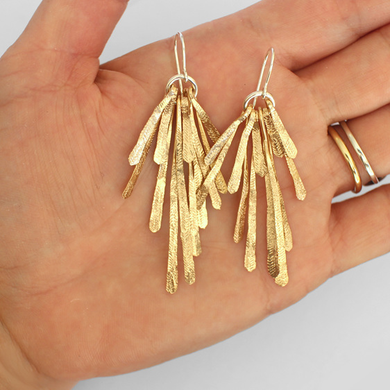 gold feather leaf sterling silver statement summer hammered earrings sun rays