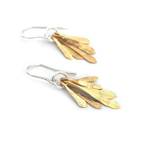 gold filled flutter leaf feather sterling silver summer dangle earrings wedding