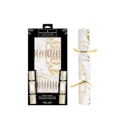 Gold marble effect DIY crackers x 6