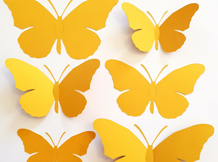 Gold paper butterflies