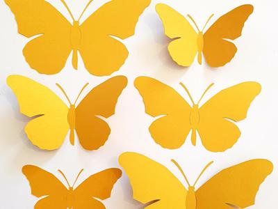 Gold paper butterflies