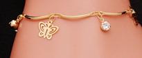 Gold Plated Butterfly & Rhinestone Bracelet
