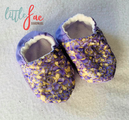 Gold & Purple Flower Baby Shoes