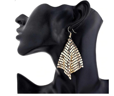Gold Sequin Tassle Earrings