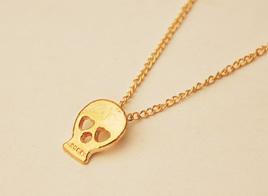 Gold Skull Pendant Necklace