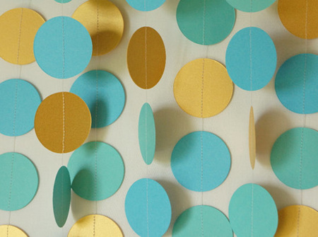 Gold, turquoise and aqua paper circle garland - 3m