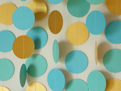 Gold, turquoise and aqua paper circle garland - 3m