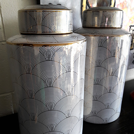 Gold & White Scallop Canister - $280 each