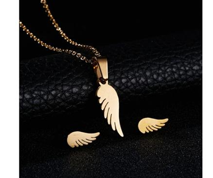 Golden Angel Wing Earrings & Necklace Set