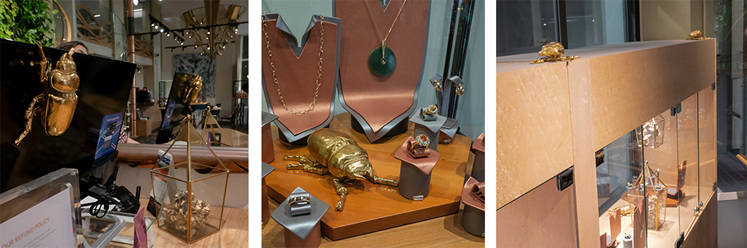 Golden beetles inside village goldsmith showroom and cabinets.