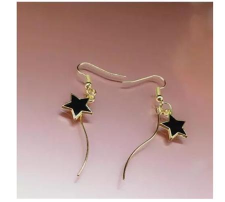 Golden & Black Star Earrings
