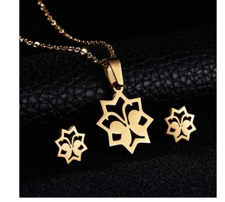 Golden Butterfly Necklace & Earrings Set