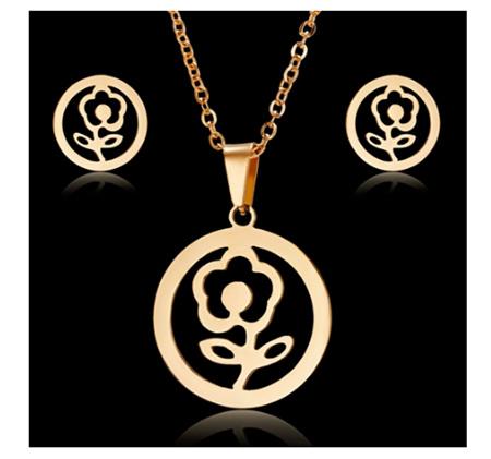 Golden Flower Earrings & Necklace Set