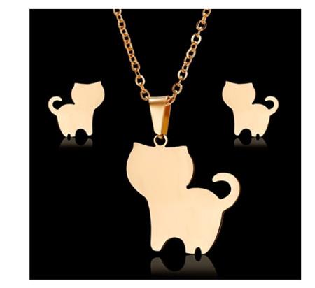 Golden Happy Cat Jewellery Set