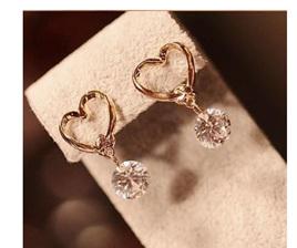 Golden Heart Crystal Drop Earrings