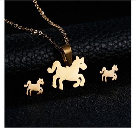 Golden Horse Earrings & Necklace Set