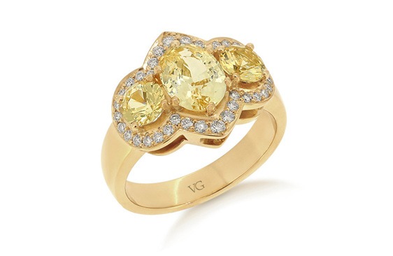 Golden Sapphire, Diamond Ring, Dress Ring, Sapphire Ring, Yellow Gold Ring