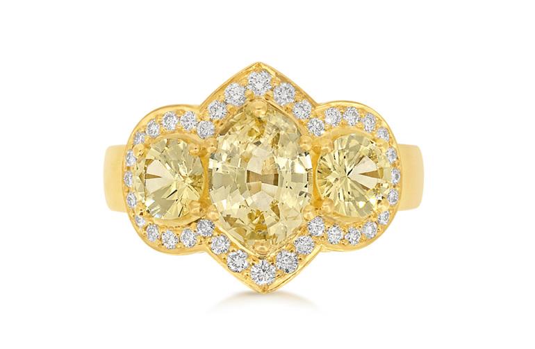 Golden Sapphire, Diamond Ring, Dress Ring, Sapphire Ring, Yellow Gold Ring