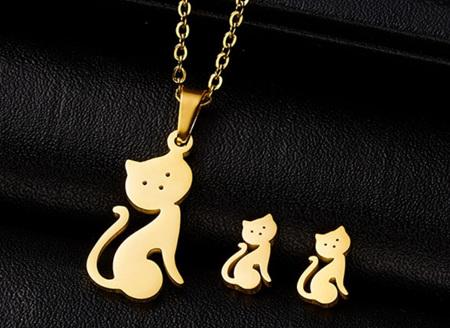 Golden Sitting Cat Jewellery Set
