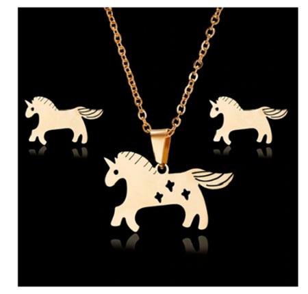 Golden Unicorn Jewellery Set