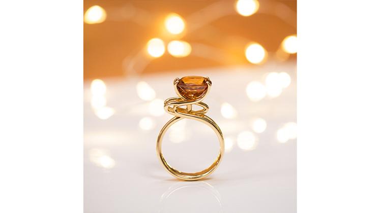 Golden zircon unique handcrafted yellow gold ring jewellery designers wellington