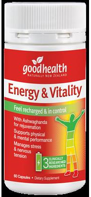 Good Health NZ Energy  Vitality  30 capsules 60 capsules in picture