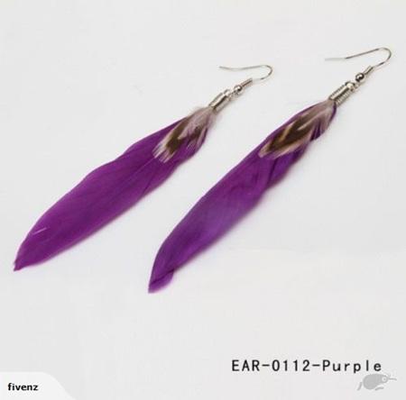 Goose Feather Earrings - PURPLE