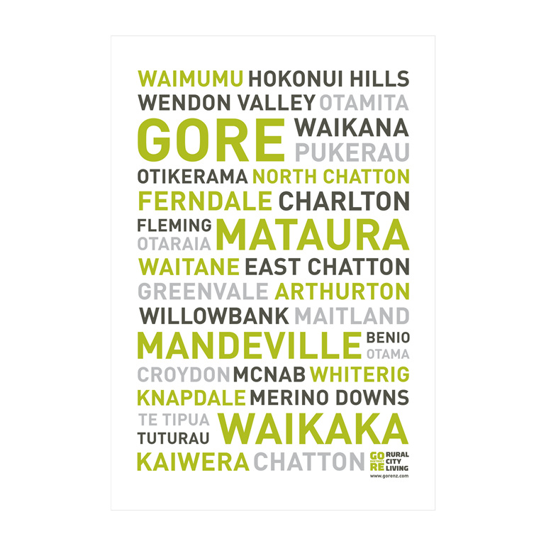 Gore NZ Place Names Tea Towel