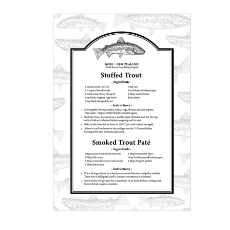 Gore NZ Trout Recipe Tea Towel