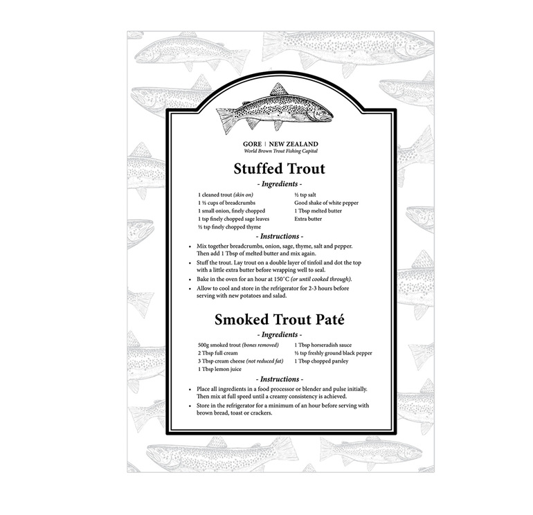 Gore NZ Trout Recipe Tea Towel