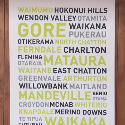 Gore Place Names Tea Towel