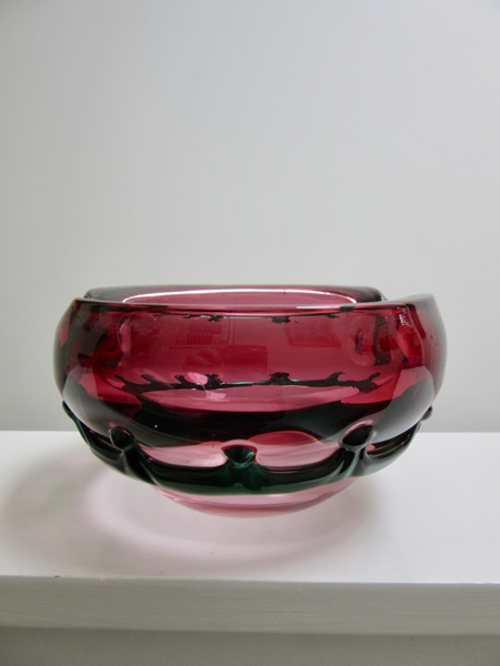 Gorgeous Vintage Art Glass Bowl in Pink and Green