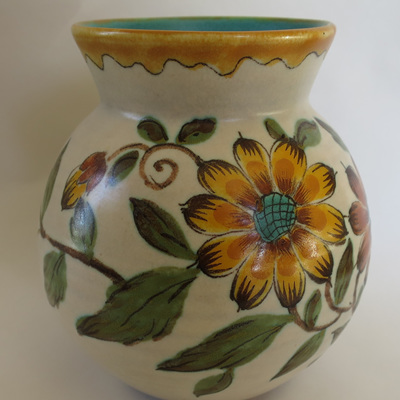Cream vase with hand painted flowers