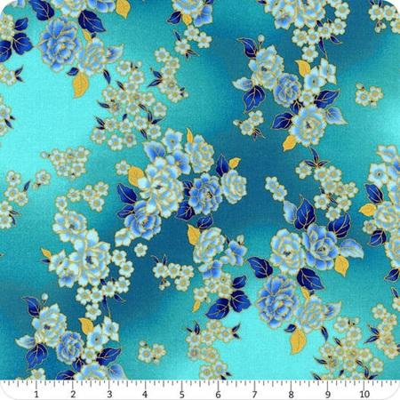 Graceful Garden Metallic Aqua and Gold Floral Bouquet S7733-214G