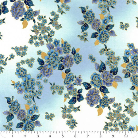 Graceful Garden Metallic Periwinkle and Gold Floral Bouquet S7733-139G