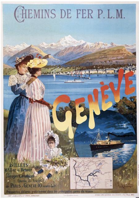 Grafika 1000 Piece Jigsaw Puzzle: Poster  PLM railway company: Paris - Geneve, 1895