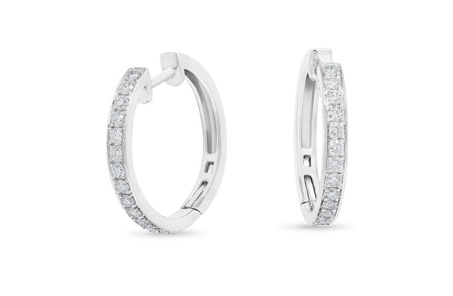 Grain Set Diamond Hoop Earrings